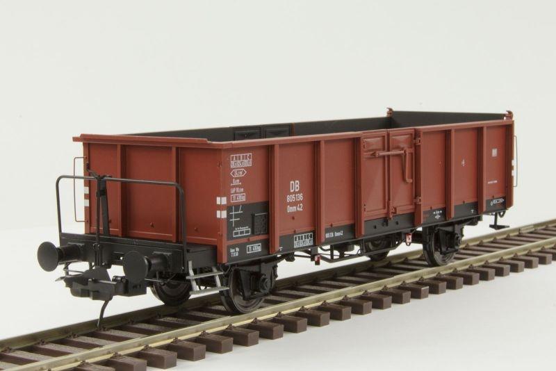 Hochbordwagen Omm42 der DB, mit Bremserbühne, Spur 0