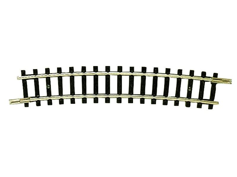 Gebogenes Gleis R4=329 mm, 15° N-Gleis ohne Bettung