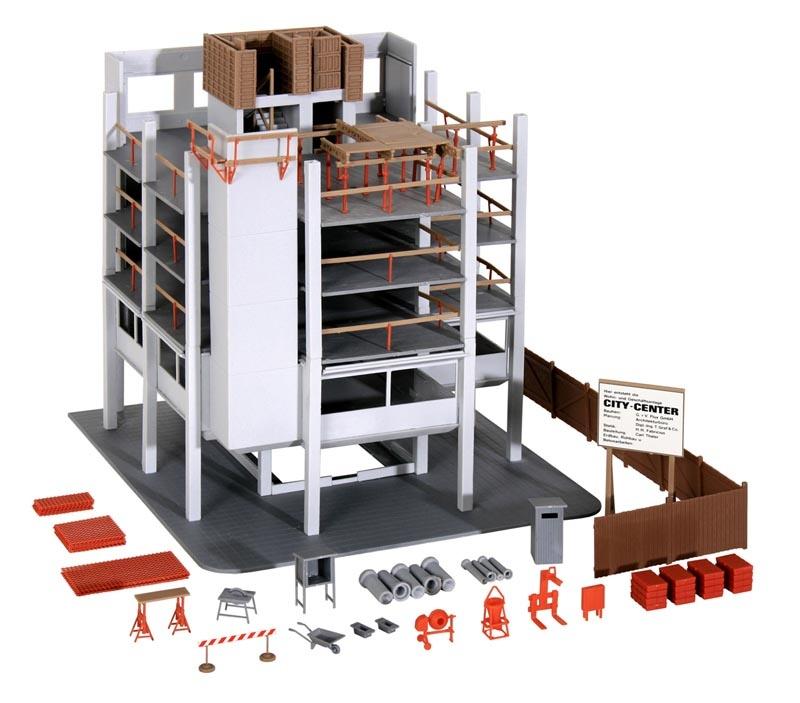 Gebäude-Rohbau mit Baustellenzubehör, Bausatz, Spur H0