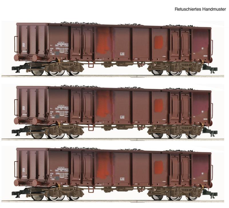 Güterwagen-Set Kohle gealtert DR TT