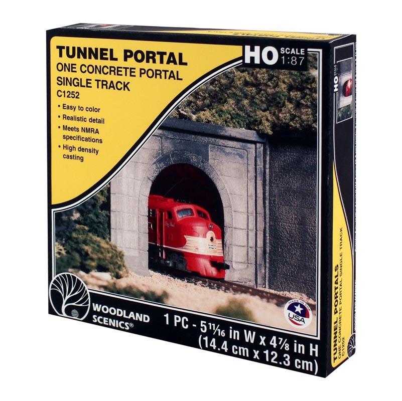 Tunnelportal eingleisig Beton, Spur H0