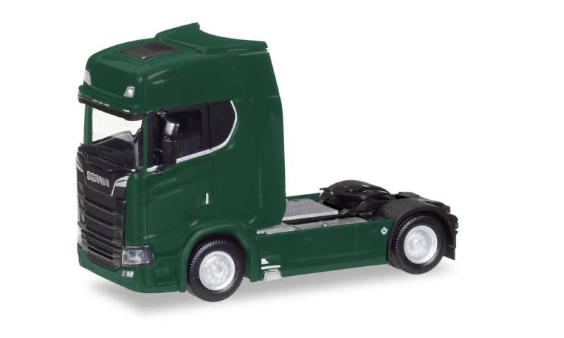 Scania CS HD V8 Zugmaschine mit Sonnenblende, dunkelgrün, H0
