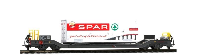 RhB Sb-v 7730 Tragwagen + Container Spar Berge 125 B, H0m