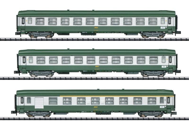 Schnellzugwagen-Set Nizza - Paris, SNCF, Minitrix Spur N