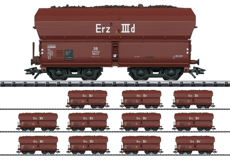 Selbstentladewagen-Set Erz IIId OOtz 41 der DB, DC, Spur H0