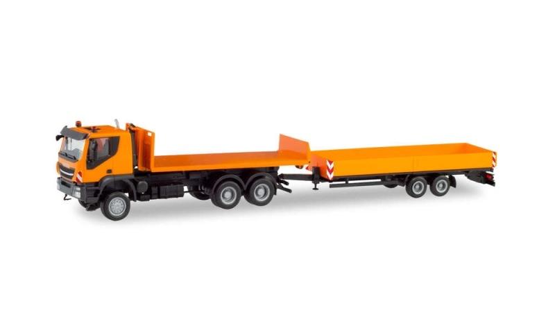 Iveco Trakker 6x6 Abrollflat-LKW + Tieflade-Anhänger 1:87 H0