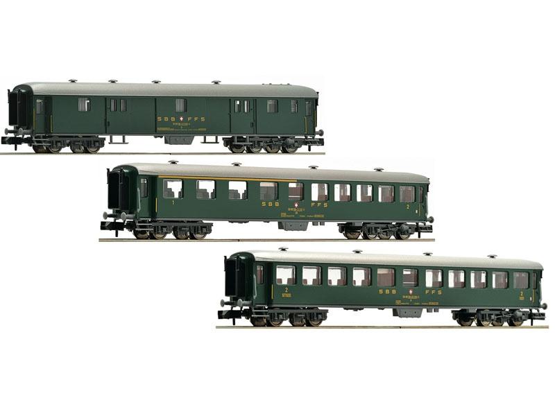 3-tlg. Schnellzugwagen-Set der SBB, DC, Spur N