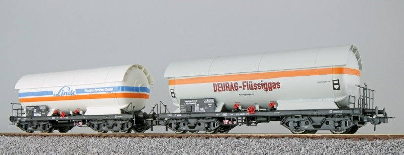 Gas-Kesselwagen Set, ZAG 620, Linde+Deurag, DB, weiß, DC, H0
