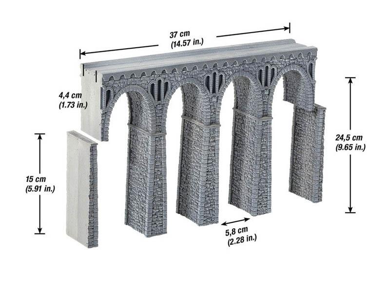 Bruchstein-Viadukt aus Struktur-Hartschaum Spur H0