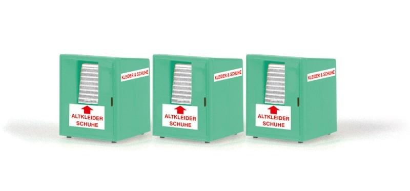 Altkleidercontainer (3 Stück), 1:87 / H0