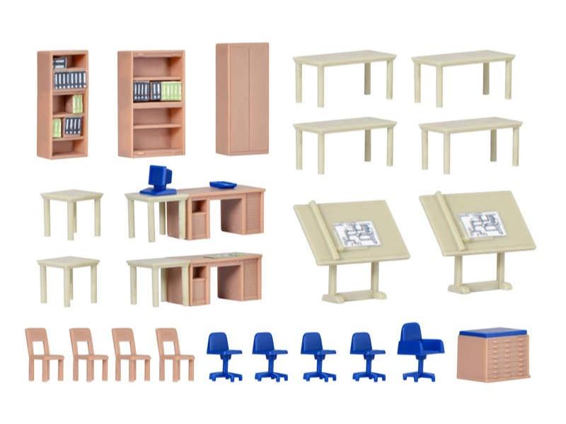 Deko-Set Möbel für technisches Büro, Bausatz, Spur H0