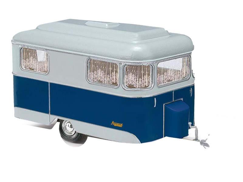 Nagetusch Wohnwagen, blau, 1:87 / Spur H0