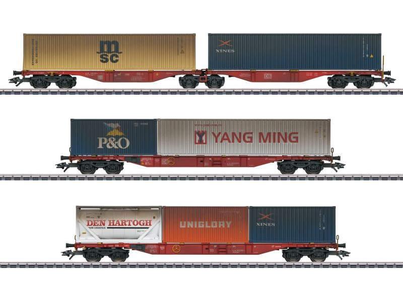 Containerwagen-Set mit 3 Wagen der DB AG, H0