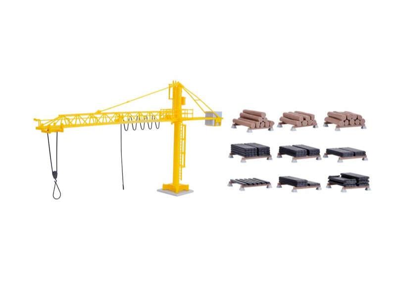 Kran mit Schwellenstapel, Bausatz, Spur H0