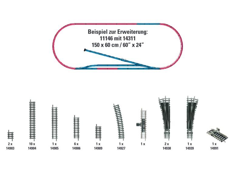 Gleis-Ergänzungs-Set H1, Minitrix Spur N