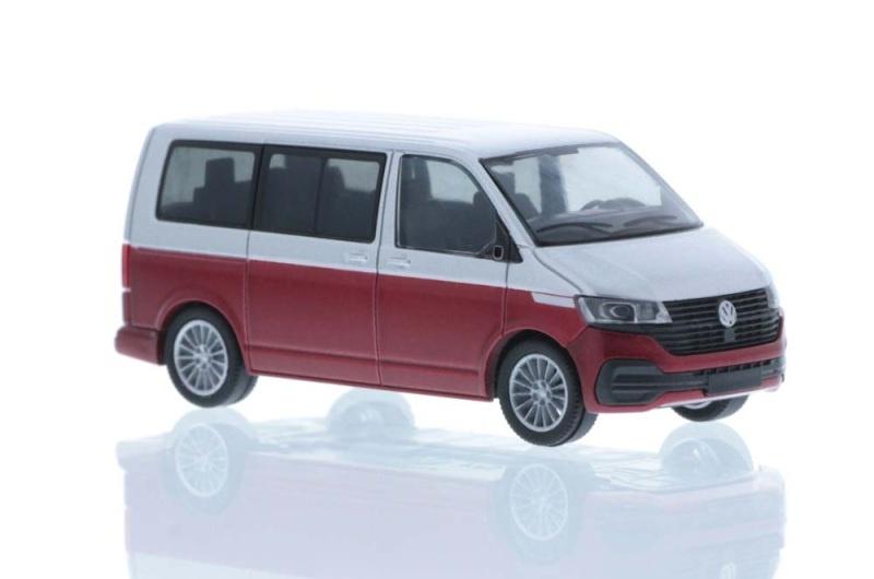 Volkswagen T6.1 Bus KR reflexsilber/fortanorot, 1:87 / H0