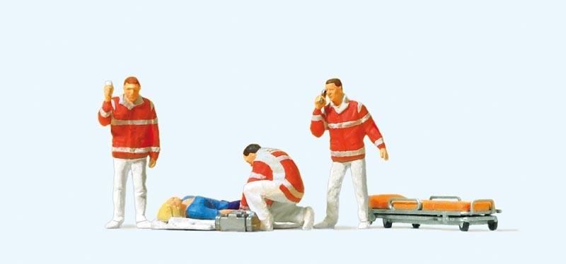 Sanitäter, Verletzte auf Decke 1:87 / H0