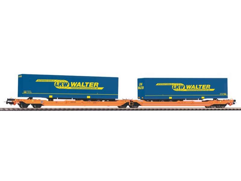 Taschenwagen T3000e Wascosa mit 2 Walter Trailern, Spur H0