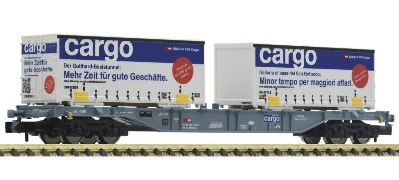 Containertragwagen Sgns SBB + 2x Wechselpritschen, Spur N