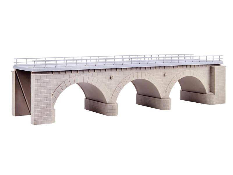 Steinbogenbrücke mit Eisbrecherpfeilern gerade,1-gleisig, H0