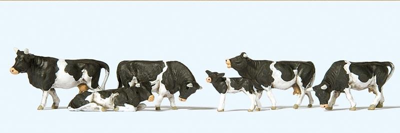 Kühe, schwarz gefleckt 1:87 / H0