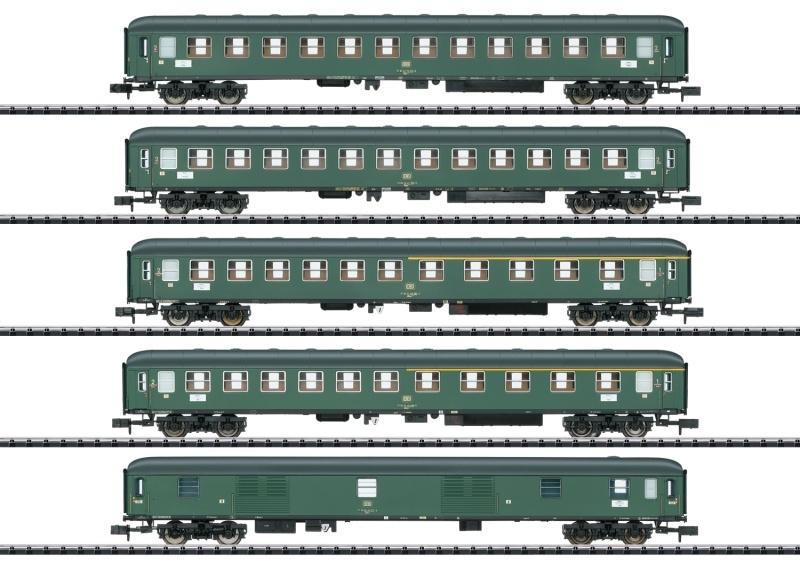 Schnellzugwagen-Set D 360 der DB, Minitrix Spur N