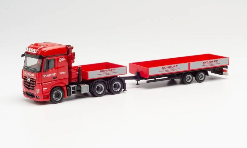 MB Arocs L 6x4 mit Ladekran, Ballastpritsche & Anhänger, H0