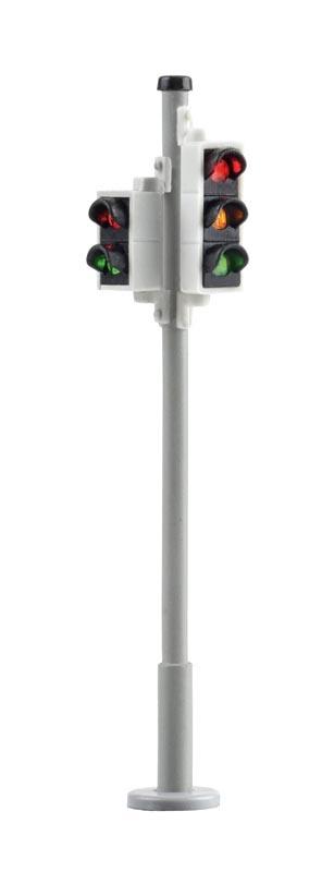 Verkehrsampel mit Fußgängerampel und LEDs, 2 Stück, Spur H0