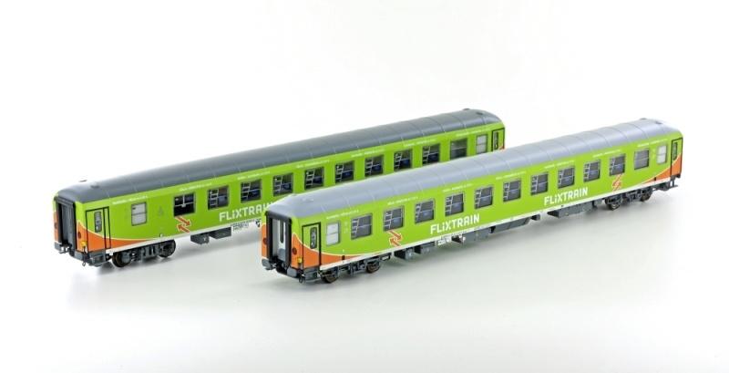 2tlg. Liegewagen Set FLIXTRAIN Bvcms/Bvcmbz HH - Köln, DC H0