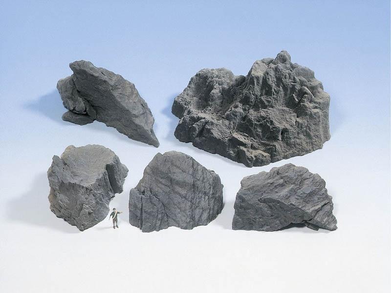 Felsstücke Granit aus Struktur-Hartschaum 5 Stück