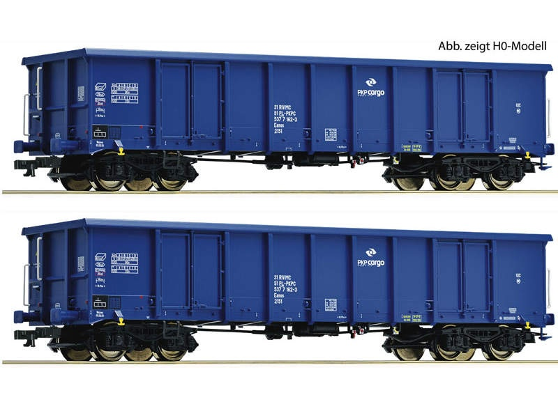 Güterwagen-Set Eanos PKP blau TT