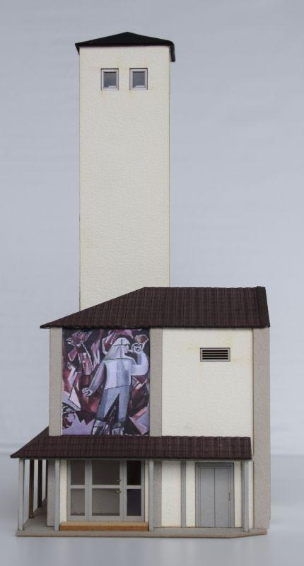 Schlauchturm mit Eingangsbereich, Spur H0 (Lasercut-Bausatz)