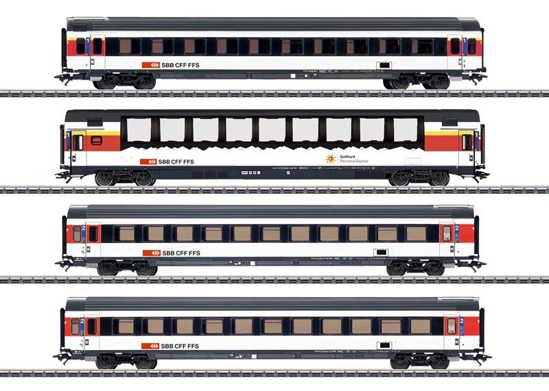 EuroCity 4er-Personenwagen-Set der SBB, AC, Spur H0