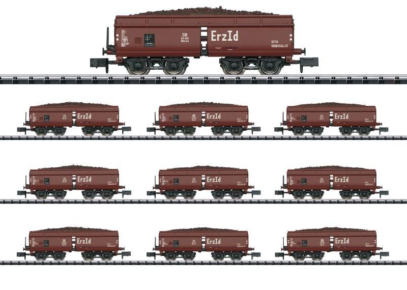 Display mit 10 Selbstentladewagen Erz Id DB, Minitrix Spur N