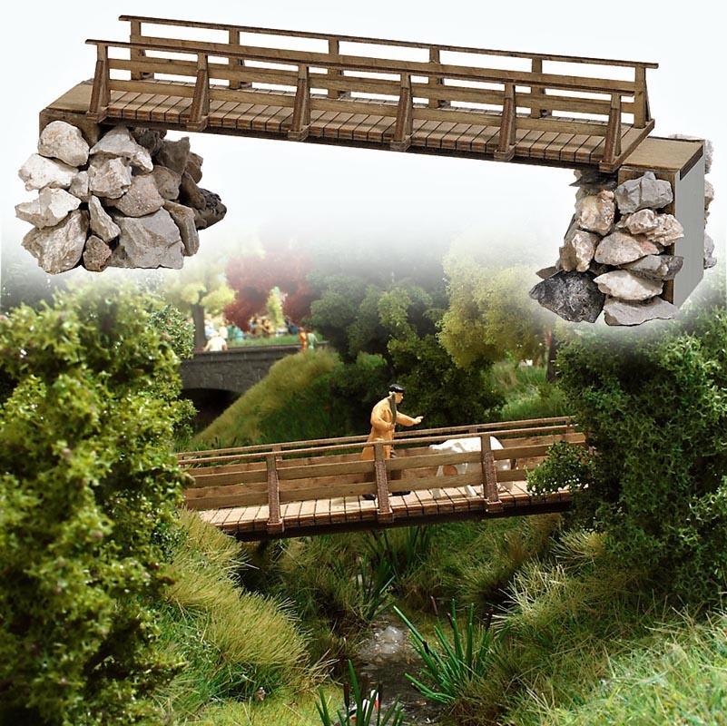 Holzbrücke Bausatz, Spur H0