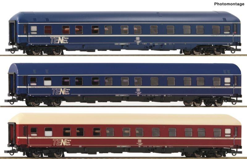 3-teiliges Set Schlafwagen der DB, DC, Spur H0