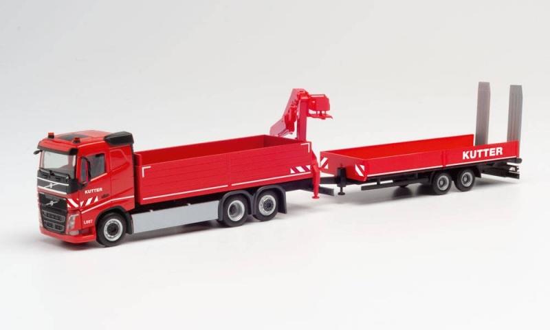 Volvo FH FD Kranfahrzeug - Tiefladeanhänger Kutter, 1:87, H0