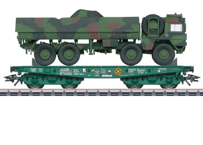 Schwerlast-Flachwagen Rlmmps der DB AG, AC, Spur H0
