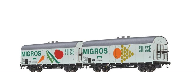 Kühlwagen Ibs 394 DB, IV, Migros (2er-Set), DC, Spur H0