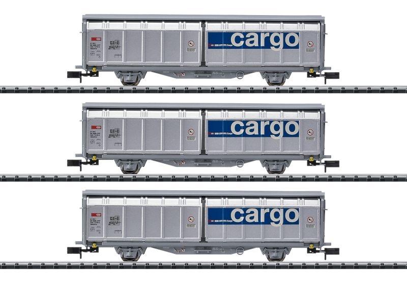Schiebewandwagen-Set der SBB Cargo, DC, Minitrix Spur N