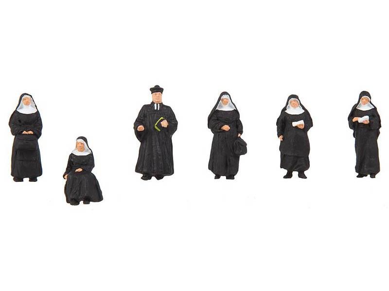 Nonnen und Pfarrer 6 Figuren H0