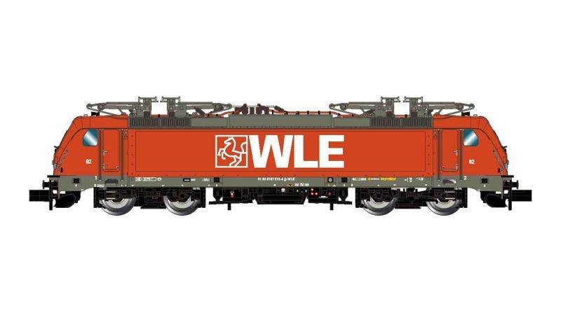 Elektrolokomotive BR 187 in roter Lackierung der WLE, Spur N