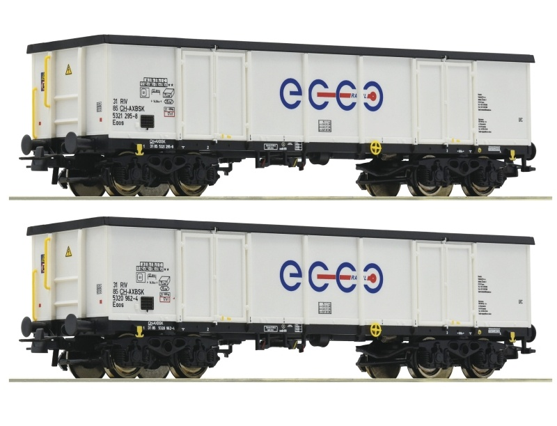 2-tlg. Set Offene Güterwagen Eaos der Ecco Rail, DC, Spur H0