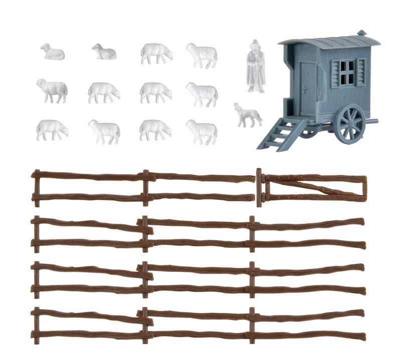 Schäferwagen mit Schafherde, Bausatz, Spur N