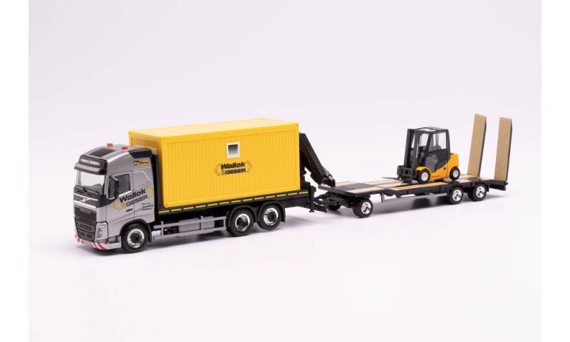 Volvo FH Gl. Flachbett-LKW mit Container / Ladekran 1:87, H0