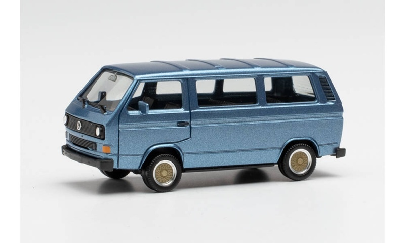 VW T3 Bus mit BBS-Felgen, blaumetallic, 1:87 / Spur H0