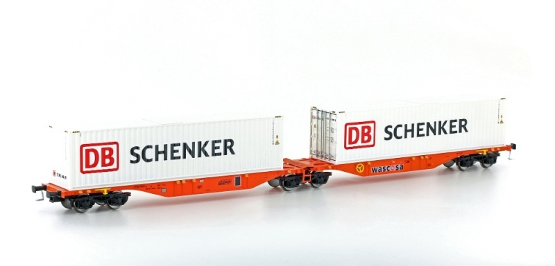 Containertragwagen Sggmrss 90 Wascosa orange, DC, Spur H0