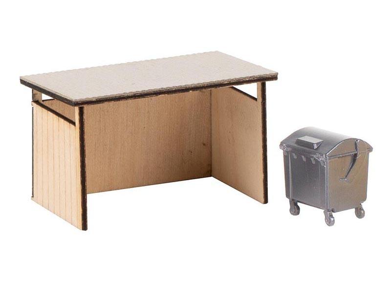Mülltonnenunterstand mit Wertstoffbehälter, Spur H0