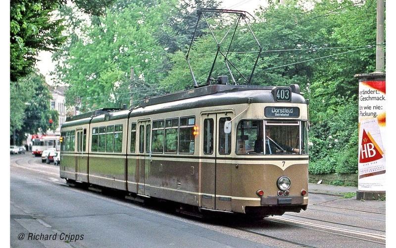 Straßenbahn Duewag GT8, Dortmund, braun/beige, Ep.IV, DC, H0