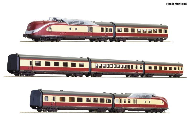 7-teiliger Dieseltriebzug BR 601 der DB, DC, Spur H0